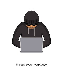 vector flat hacker with laptop isolated - vector flat...