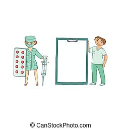 Doctors with giant syringe, pills, medical chart - Two...