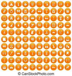 100 crown icons set orange - 100 crown icons set in orange...