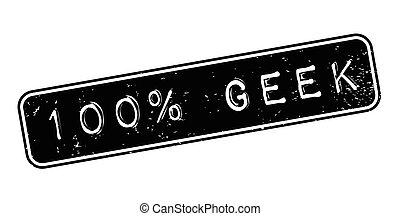 100 Geek rubber stamp. Grunge design with dust scratches....