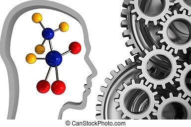 3d mechanic - 3d illustration of molecule over white...