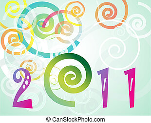 Happy New Year 2011 background with spiral