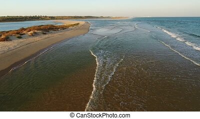 Aerial. Videography of drone flying over the Ria Formosa....