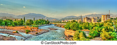 View of Dushanbe with the Varzob River and the Pamir-Alay...