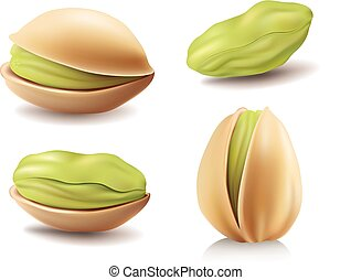 group of different green pistachio nuts - group of different...