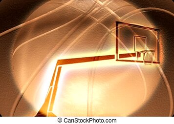 basketball hoop, rim, ball