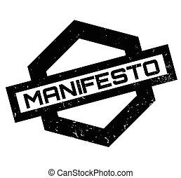 Manifesto rubber stamp. Grunge design with dust scratches....