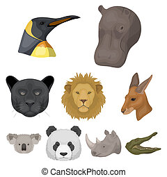 A set of icons of wild animals. Predatory and peaceful wild...