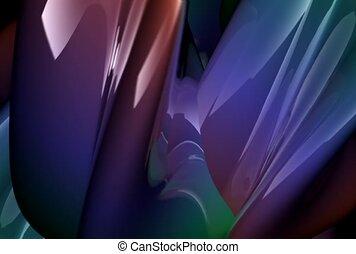 metallic, fluid, multi-colored