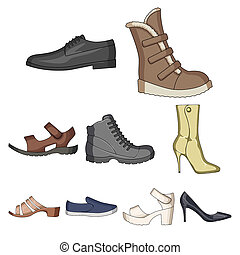 A set of icons on a variety of shoes.Different shoes single...