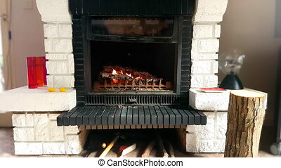 Fire Burning in a Stone Fireplace - Burning Wood In Stone...