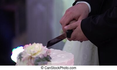 Bride and groom cutting piece of wedding cake slowmotion