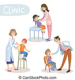 Working in clinic pediatrician cartoon vector - Set of...