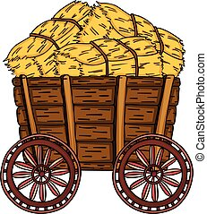 Wooden trolley full with bale of hay - Scalable vectorial...