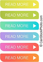 Vector read more buttons with arrow - colorful labels on the...