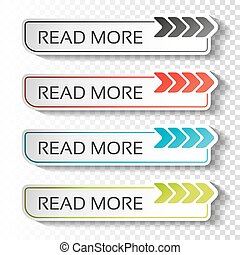 Vector read more buttons with arrow pointer. Black, blue,...