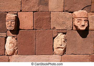pared, Tiahuanaco, piedra, caras
