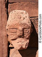pared, Tiahuanaco, piedra, cara, B