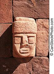 Tiahuanaco, piedra, cara