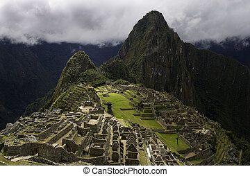 Machu Picchu - View across the ruins of ancient inca town of...