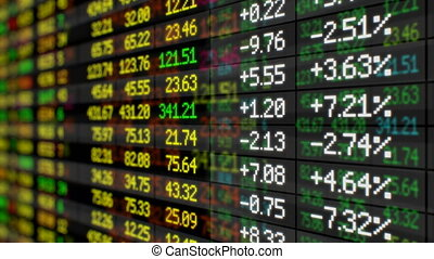 Beautiful Stock Market Board Moving Up Seamless. Looped 3d...
