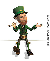 Leprechaun Sitting on an Edge - A friendly leprechaun is...