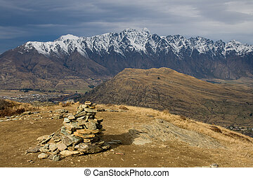 Remarkables range - Winter view of remarkables range in...