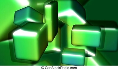 metallic, green, cube
