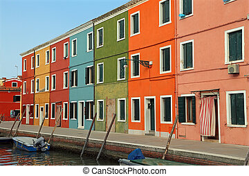 houses on the island of Burano a few miles from Venice in Northe