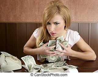 codicia, dinero, Retro, mujer, oficina, vendimia, contador