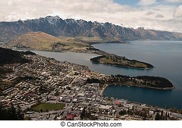 Queenstown from above with lake Wakatipu and remarkables