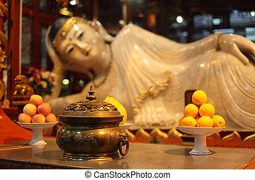 Buddha statue at Jade Buddha temple in Shanghai, China