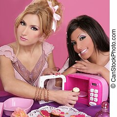 fashion barbie girls pink microwave sweets kitchen eighties...