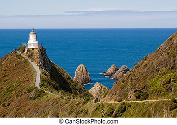 Nugget Point lighthouse - Light house on nugget point in the...