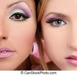 makeup closeupl macro two faces multiracial in pink - makeup...