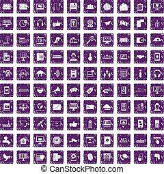100 communication icons set grunge purple - 100...