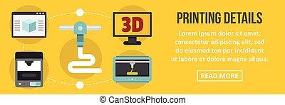 Printing 3d details banner horizontal concept. Flat...