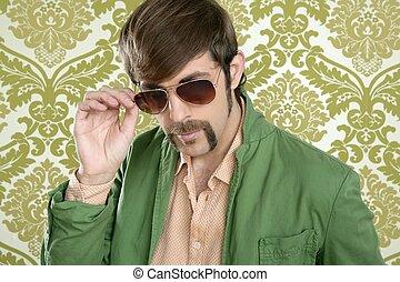 ENGRAÇADO,  Geek, vendedor,  retro, bigode, homem