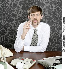 retro mustache businessman office desk
