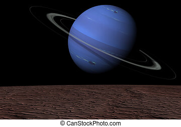 Neptune rising over Triton - The planet Neptune rising over...