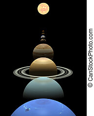 Solar system planets in alignment around sun - All 8 planets...