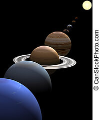 Solar system planets in alignment around sun - The eight...