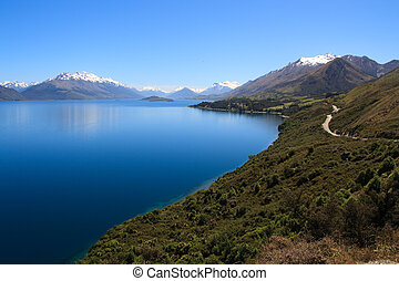 Lake Wakatipu - Scenic view of Lake Wakatipu with Southern...