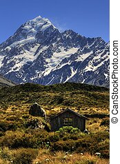 Mountain hut Mt Cook - Mount Cook towering in the background...