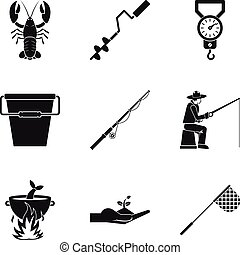 Food in open air icons set, simple style - Food in open air...