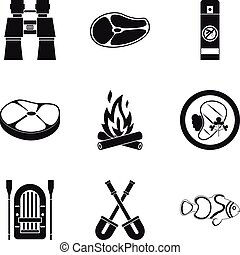 Roasted meat icons set, simple style - Roasted meat icons...