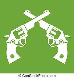 Revolvers icon green - Revolvers icon white isolated on...