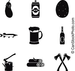 BBQ on open air icons set, simple style - BBQ on open air...