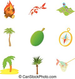 Rain-forest icons set, cartoon style - Rain-forest icons...