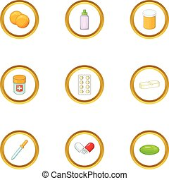 Medicinal preparation icons set, cartoon style - Medicinal...